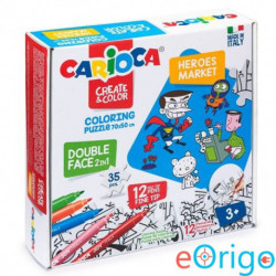 Carioca Hősök színezhető kétoldalú puzzle 12 db filctollal