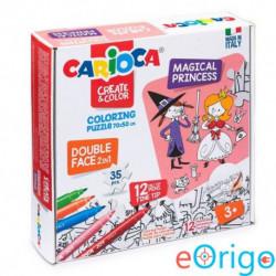 Carioca Mágikus hercegnők színezhető kétoldalú puzzle 12 db filctollal