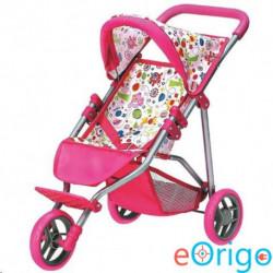 Bino Toys Háromkerekű összecsukható pink babakocsi