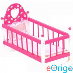 Bino Toys fa játék bölcső ágyneművel pink
