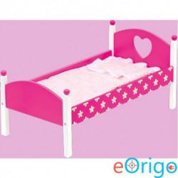 Bino Toys fa játék ágy mintás ágyneművel pink