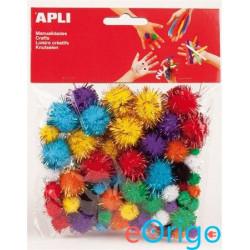 APLI ˝Creative˝ Pom-pom, csillogó vegyes színek (13062)