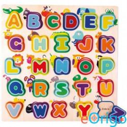Bino Toys Angol ABC fa formaillesztő játék állatokkal