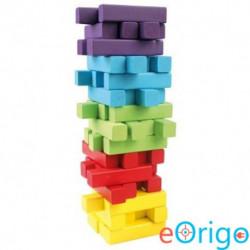 Bino Toys Jenga színes fa toronyépítő készlet 60db-os