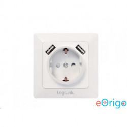 LogiLink 2 USB porttal ellátott CEE 7/3 fali csatlakozó aljzat (PA0162)